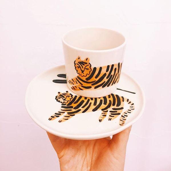 filiżanka ze spodkiem Trzask Ceramics Tygrys