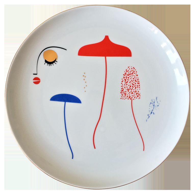 Talerz z ilustracją, z motywem grzybów i twarzy.
