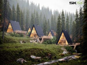 Realistyczna wizualizacja: domki BRDA na zboczu w lesie