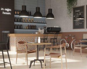 Wnętrze kawiarni z barem, w płytkach z serii Modernizm