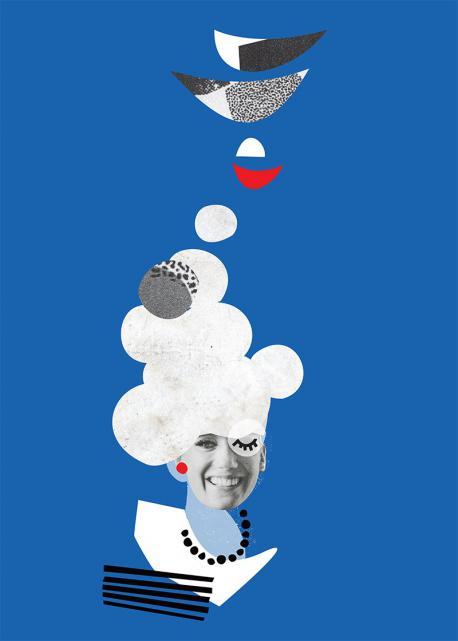 Kolaż z twarzą kobiety na niebieskim tle