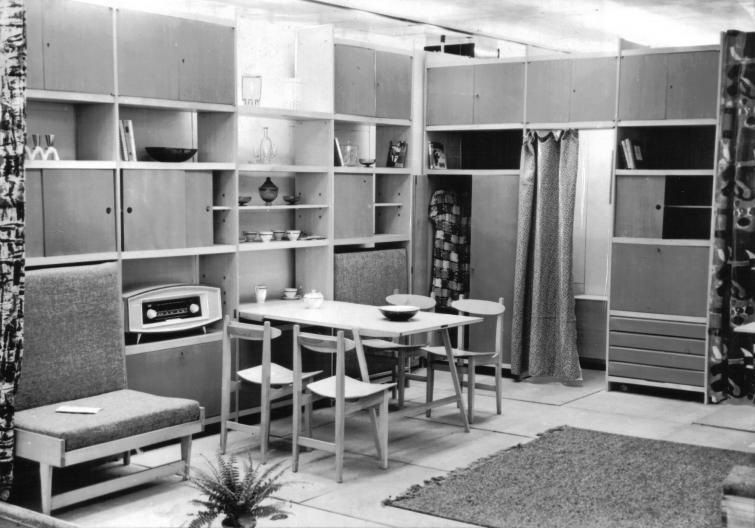 Meblościanka w zaaranżowanym wnętrzu mieszkalnym. Fotografia czarno-biała.