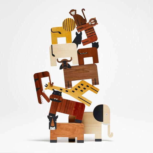 Piramida zwierzaków. Drewniane figurki Projekt Dzioopla