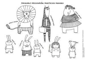 Kolorowanka z postaciami Miasteczka Mamoko Aleksandry i Daniela Mizielińskich