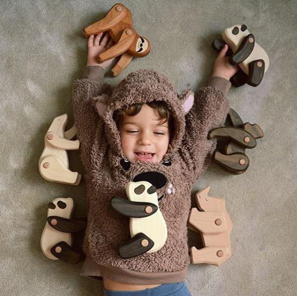 Dziecko i drewniane zabawki - zwierzęta. Bajo Toys