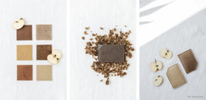 próbki i saszetki wykonane z roślinnej skóry z odpadów jabłek